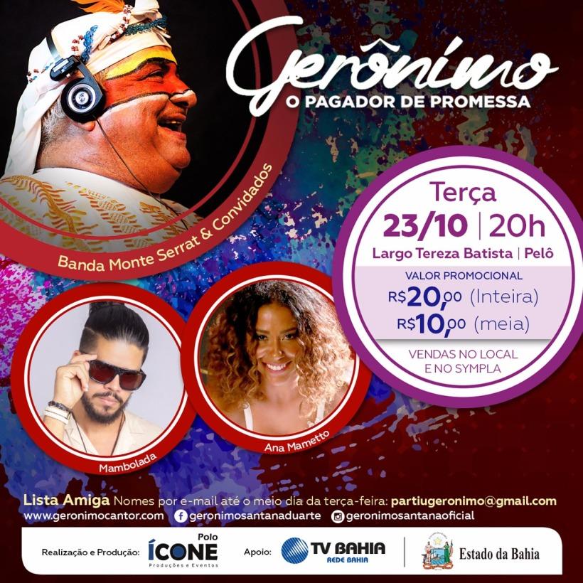 show geronimo 23 outubro pelourinho flyer