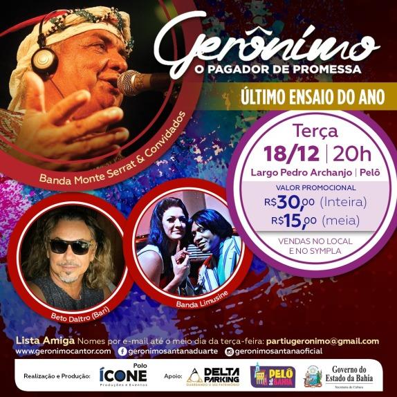 Pelourinho Salvador Show Gerônimo flyer 18 dezembro